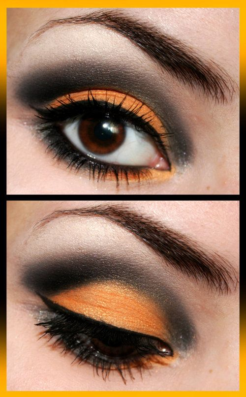 Love these colors together for Halloween makeup.: Halloween Costume, Eye Makeup, Eyeshadow, Halloween Makeup, Halloween Eyes, Orange Eye, Makeup Idea
