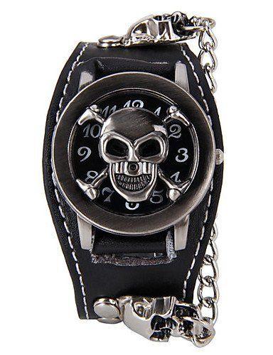 SKLIT Klassik-Schädel förmigen Schwermetall echtem Leder Nieten Uhr (schwarz) (1pc) - http://uhr.haus/sklit-watches/sklit-klassik-schaedel-foermigen-schwermetall