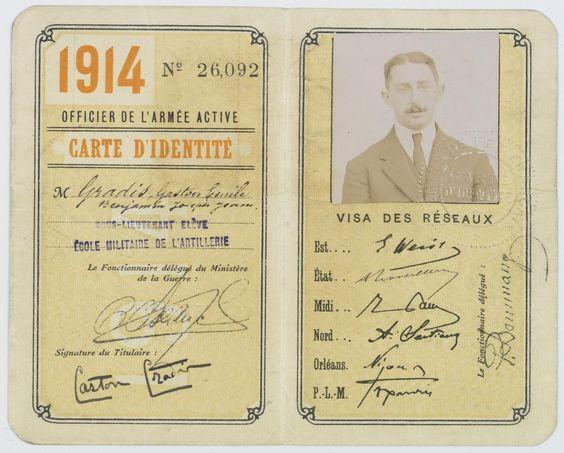Carte d'identité d'officier de l'armée d'active du sous-lieutenant Gaston Gradis, élève de l'école militaire de l'artillerie. 1914 (2/2)