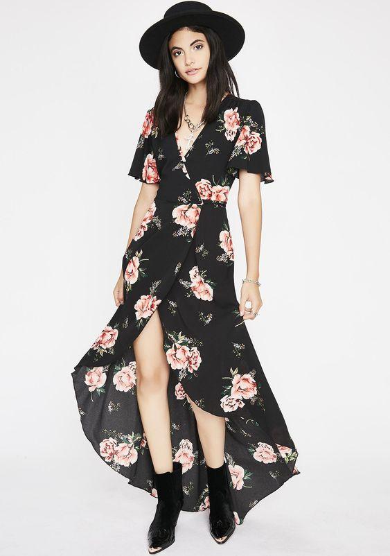 Floral Wrap Maxi Dress   Dolls Kill