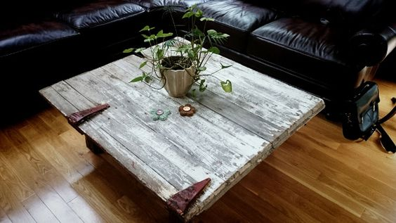 Old dairy barn door re-purposed into coffee table
