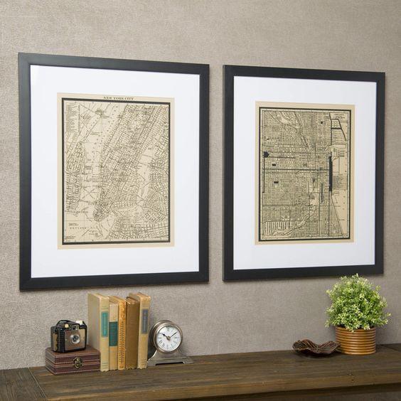 Birch Lane Vintage New York City Map Framed Print | Birch Lane