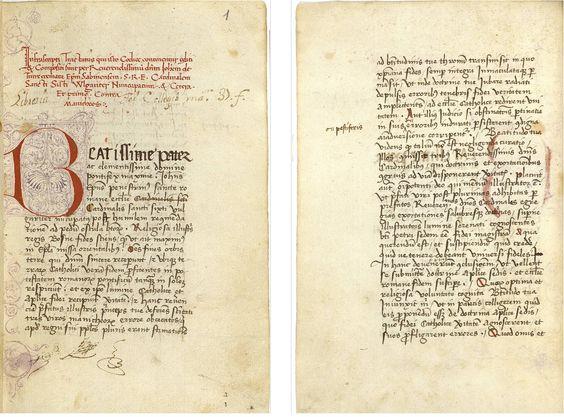 """Tractatus contra manicheos. Juan de Torquemada.  Manuscrito BH MSS 79 de la Biblioteca Histórica UCM """"Marqués de Valdecilla"""""""