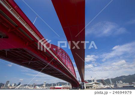 兵庫県神戸市ポートアイランド北公園から見た神戸大橋と神戸の風景
