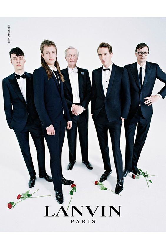 For the menswear campaign, male members of Campbell's family struck their best pose - from left to right: Olympia Campbell's boyfriend Mateo; Edie's older brother Arthur; her grandfather Jeremy; her boyfriend Otis Ferry; and her father Roddy.