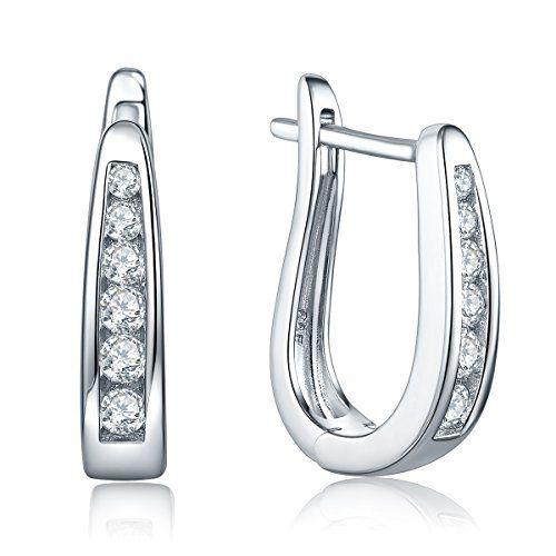 Yl Cute Huggie Earrings For Womengirls 925 Sterling Silver Channelset Cubic Zirconi Silver Earrings Wedding Sterling Silver Cross Necklace Channel Set Earrings