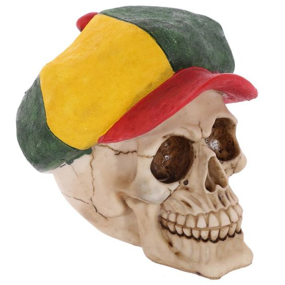 Gothic Skull Ornament Wearing a Jamaican Rasta Hat Looking for something a bit…
