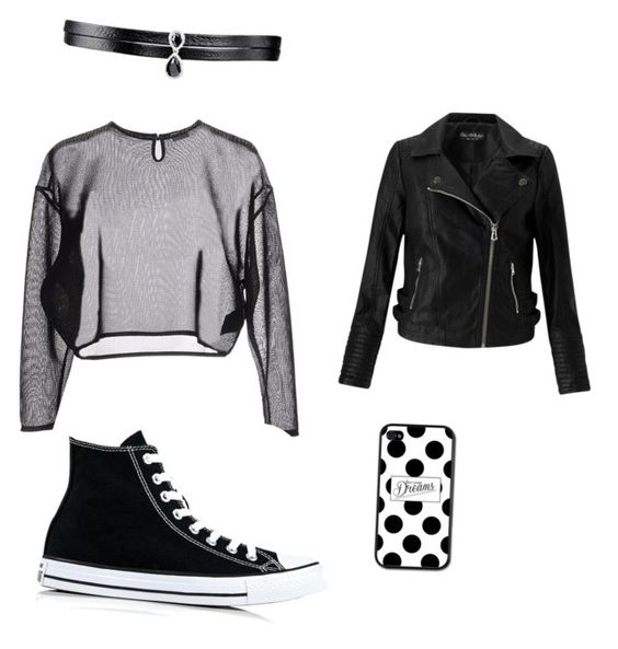 """All black"" by siennacat06 on Polyvore featuring Yves Saint Laurent, Miss Selfridge, Converse and Fallon"