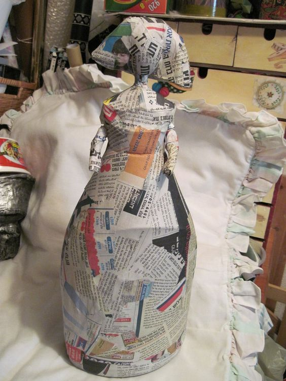 paper mache around a plastic bottle to make characters.