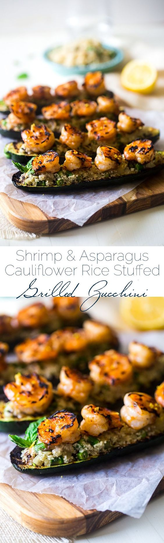 Paleo Lemon Asparagus Cauliflower Rice Stuffed Grilled Zucchini With Shrimp - Cauliflower rice is mixed with vegetables and fresh lemon, stuffed into grilled zucchini and topped with shrimp. An easy, gluten free, and healthy meal, that is under 200 calori