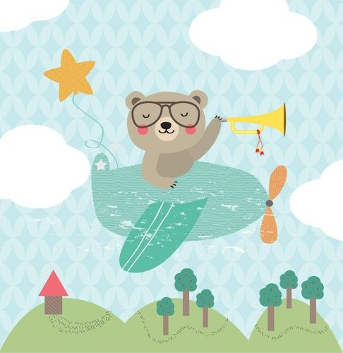 Isabel Aniel Illustration - isabel aniel, isabel, aniel, digital, commercial, picture book, novelty, sweet, cute, young, animals, bears, aeroplane, flying