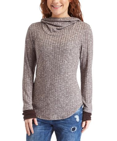Look what I found on #zulily! Brown Ribbed Hoodie #zulilyfinds