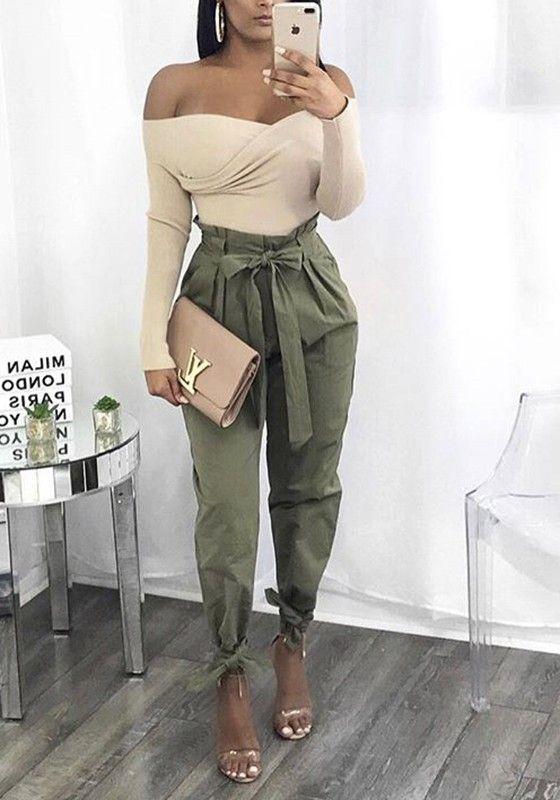 Armee Grün Taschen Bindegürtel High Waist Beiläufige Damen