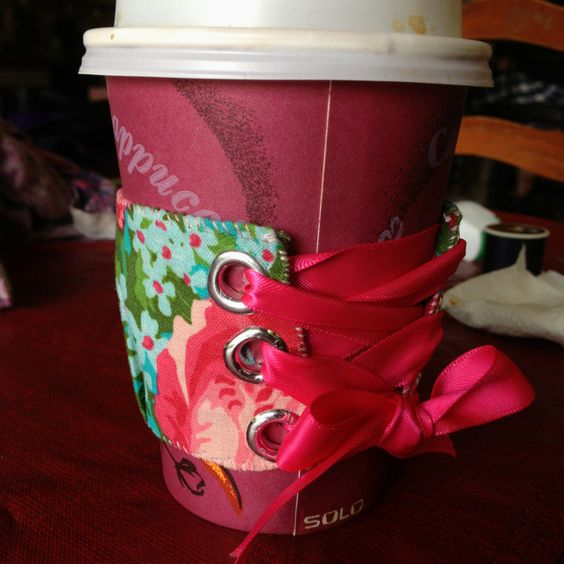 Corset coffee coozie!! This is on my list of things to make in the near future!!!!