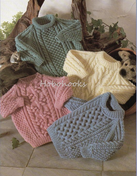 Baby / childs / childrens aran sweaters in 4 styles - 18 to 28 inch chest - aran yarn - knitting pattern - pdf instant download