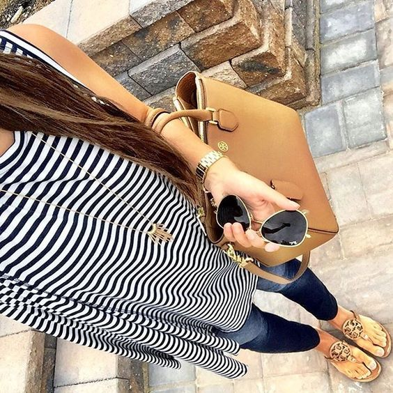 IG @mrscasual <click through to shop this look> striped tunic tank. Old Navy maternity rockstar jeans. Tory burch miller sandals. Robinson square pebbled tote. Ray Ban aviators.