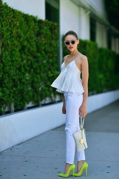 Shop this look for $101:  http://lookastic.com/women/looks/white-skinny-jeans-and-green-yellow-heels-and-white-clutch-and-white-peplum-top/2299  — White Skinny Jeans  — Green-Yellow Leather Heels  — White Leather Clutch  — White Peplum Top