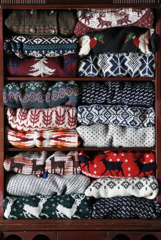 Norwegian sweaters~reminds me of lazy afternoons after skiing, drinking hot chocolate and playing Monopoly.....:
