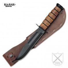 Cuchillo de combate KA-BAR con hoja de 17 cm pavonada en negro y mango de cuero. Combat Knife KA-BAR with a black blade of 17 cm and leather handle. €144.10