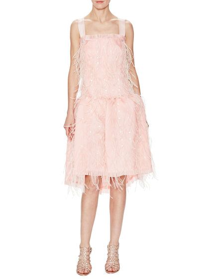 Gazaar Silk Feather Embellished Dress by Oscar de la Renta at Gilt