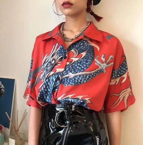 Floral print women vintage red summer oversize blouse Size L