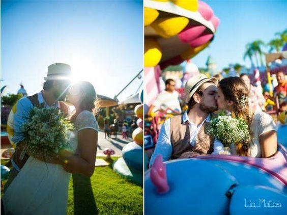 Casamento no parque de diversões. Fotos: Lia Matias