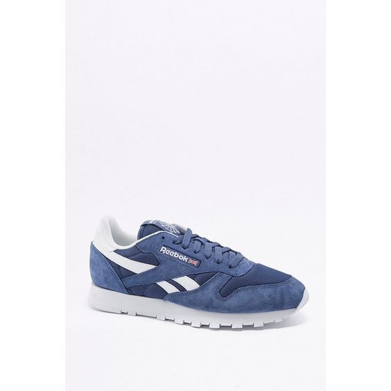 Reebok Classic Blue and White Trainers ($83) ❤ liked on Polyvore featuring shoes, sneakers, blue, reebok shoes, blue leather sneakers, woven leather sneakers, blue white shoes and blue and white shoes