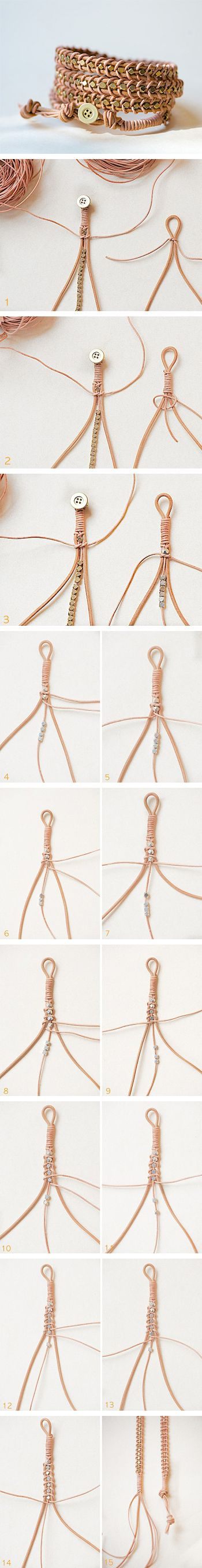 DIY Anleitung: Armband aus Leder // fashion diy: leather bracelet via DaWanda.com