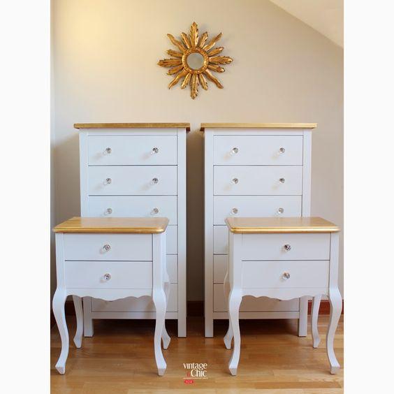 conjunto cmodas y mesitas de noche blanco y dorado muebles de colores espejo sol