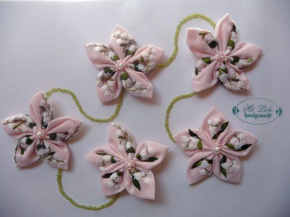 Shabby Blumen Girlande Vintage Perlen Hippie Schule Geburt Taufe Handarbeit