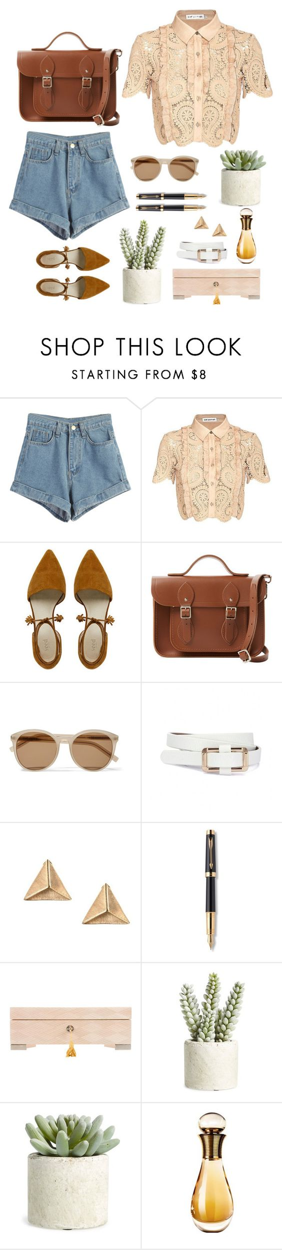 """""""Fragile dreams"""" by laslow ❤ liked on Polyvore featuring WithChic, self-portrait, The Cambridge Satchel Company, Yves Saint Laurent, Parker, Allstate Floral and Christian Dior"""