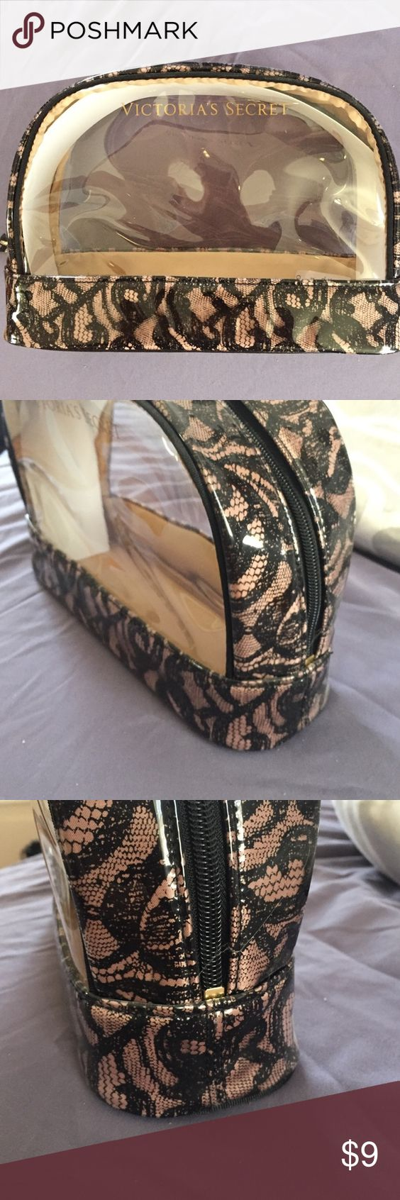 Victoria's Secret Make up Bag See thru make up bag by Victoria's Secret. Can fit all your makeup in this one bag perfect for Tavel, pretty lace design. Victoria's Secret Bags Cosmetic Bags & Cases