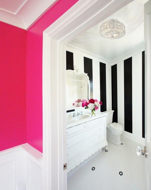Very girly, so guess you have to live by yourself, but I love it :)     (Bathrooms - Benjamin Moore - Hot Lips - hot pink walls penny tiles floor white black vertical striped walls white vintage bathroom vanity marble countertop white mirror) - would love this, but honey would not go for it, lol