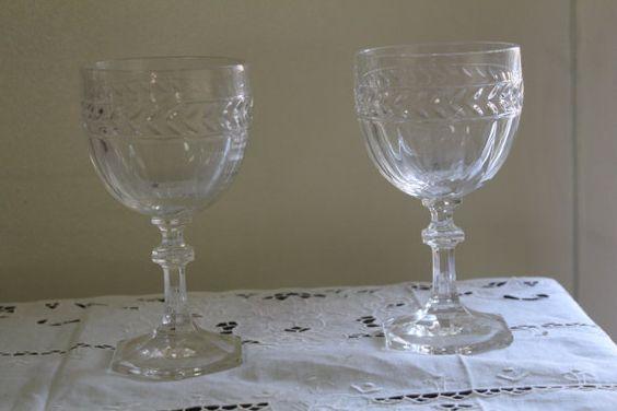 Vintage Crystal Glasses Pair French Glasses
