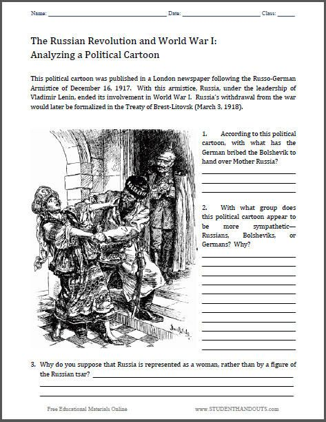 analyze a political cartoon worksheet treaty of brest litovsk 1918 world war i russian. Black Bedroom Furniture Sets. Home Design Ideas