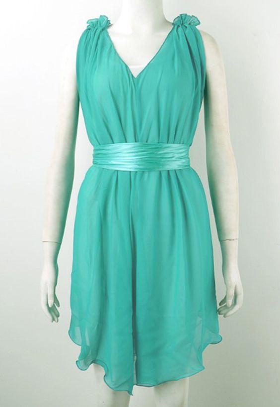 Ruffle Bow V Neck Evening Dress