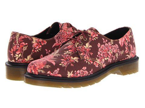 Dr. Martens Lester 3-Eye Shoe Cherry Red Jouy Floral Fine Canvas - 6pm.com