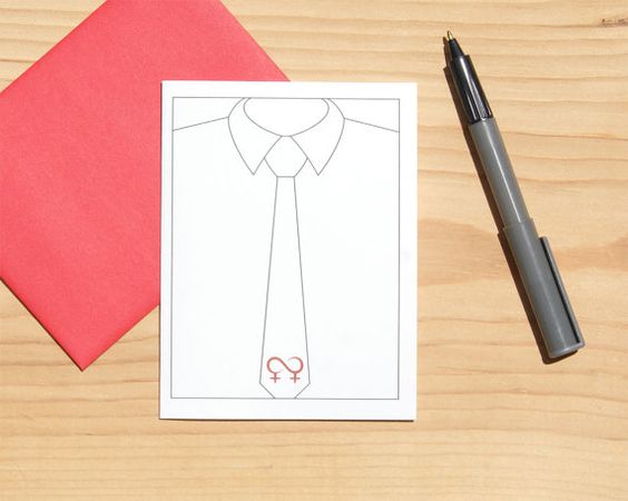 Lesbian Card  Necktie Card  Mother's Day Card  by Sabastica