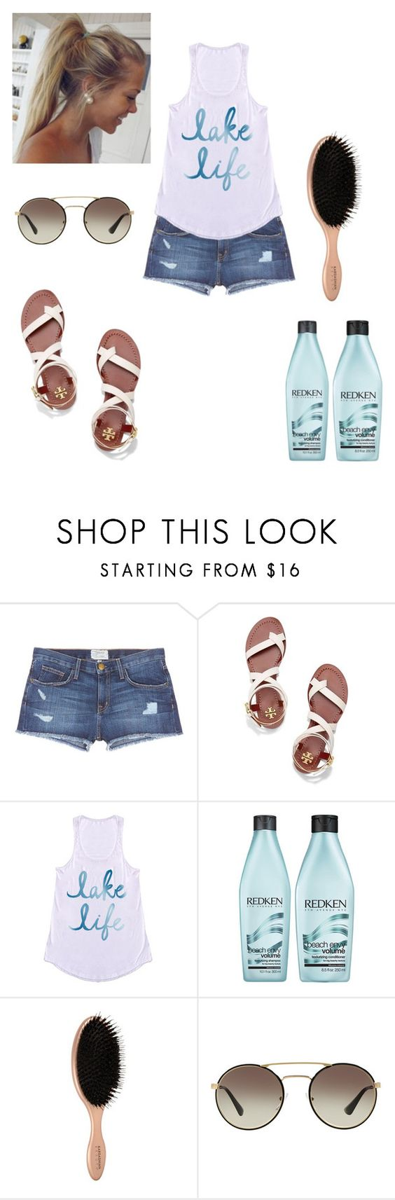 """Lake life"" by maggiewaggie ❤ liked on Polyvore featuring Current/Elliott, Tory Burch, Redken and Prada"