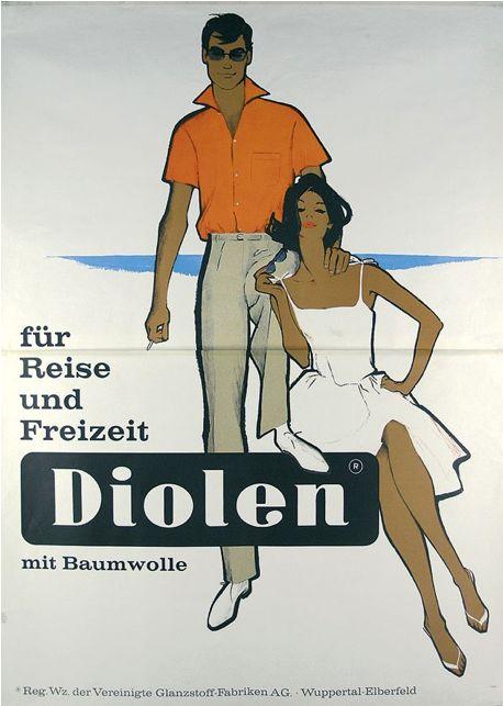 Ad by René Gruau (1909-2004), 1961, Diolen für Reise und Freizeit.
