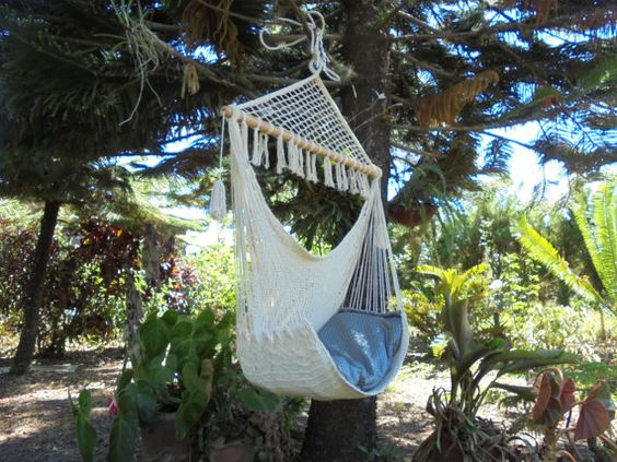 Chair swing hammock 100% cotton hand made in by LeetyaHammocks