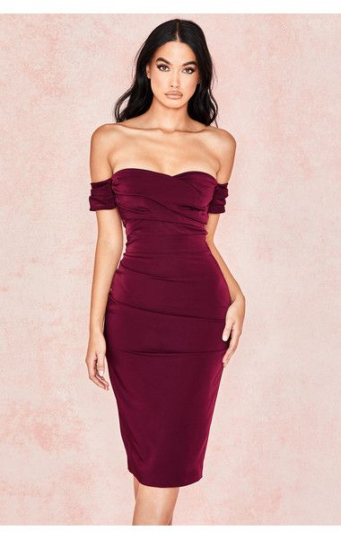 Clothing : Structured Dresses : 'Anaelle' Wine Crepe Off