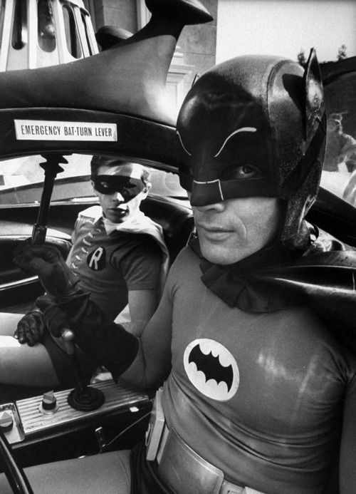 Batman Adam West (R) and Robin Burt Ward (in bat-mobile) during shooting of scene. S)