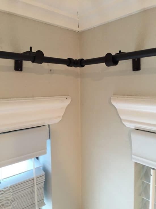 Transforming A Room With Corner Curtains And A Corner Curtain Rod Hack Corner Curtain Rod Corner Curtains Curtain Rods