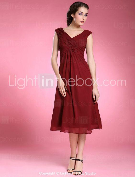 Sheath/ Column V-neck Tea-length Chiffon Matte Satin Mother of the Bride Dress - USD $ 87.29