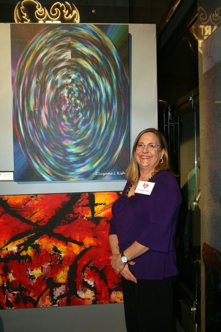This is me donating my abstract art (top) to Art with Hart for Sage Alliance, a facility for those that have been abused.