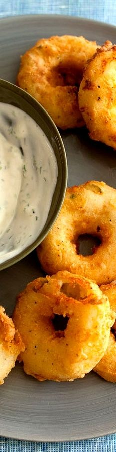 Potato Rings with Homemade Buttermilk Ranch Dipping Sauce . . .