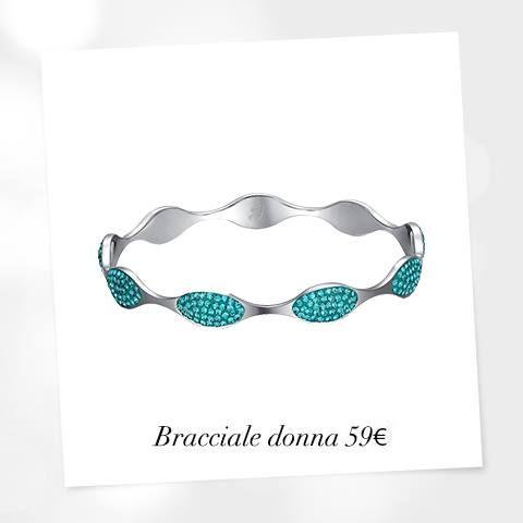 Bracciale componibile in acciaio, resina e cristalli verde acqua. #braccialedonnaverde #lucabarra #gioiellidonna2014 #collection