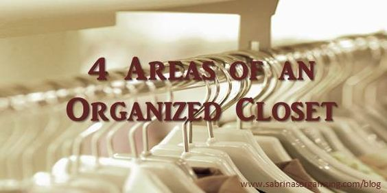 4 areas of an organized closet