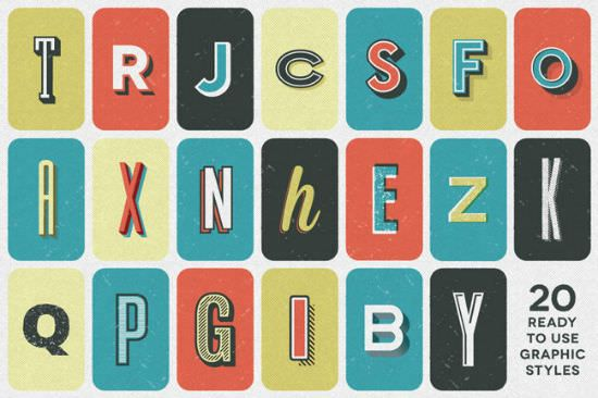 Retro Textpress for Illustrator: 20 Great Retro Text Effects Bargained Away - noupe